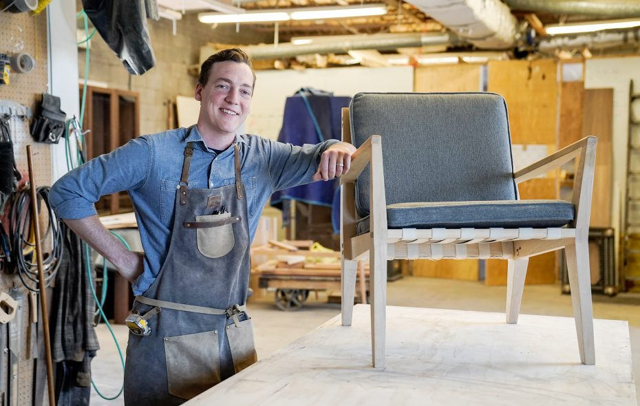 This handmade chair by Norman Cramer is a labor of love and takes about a week from first cut to completion. (Dave Jarosz)