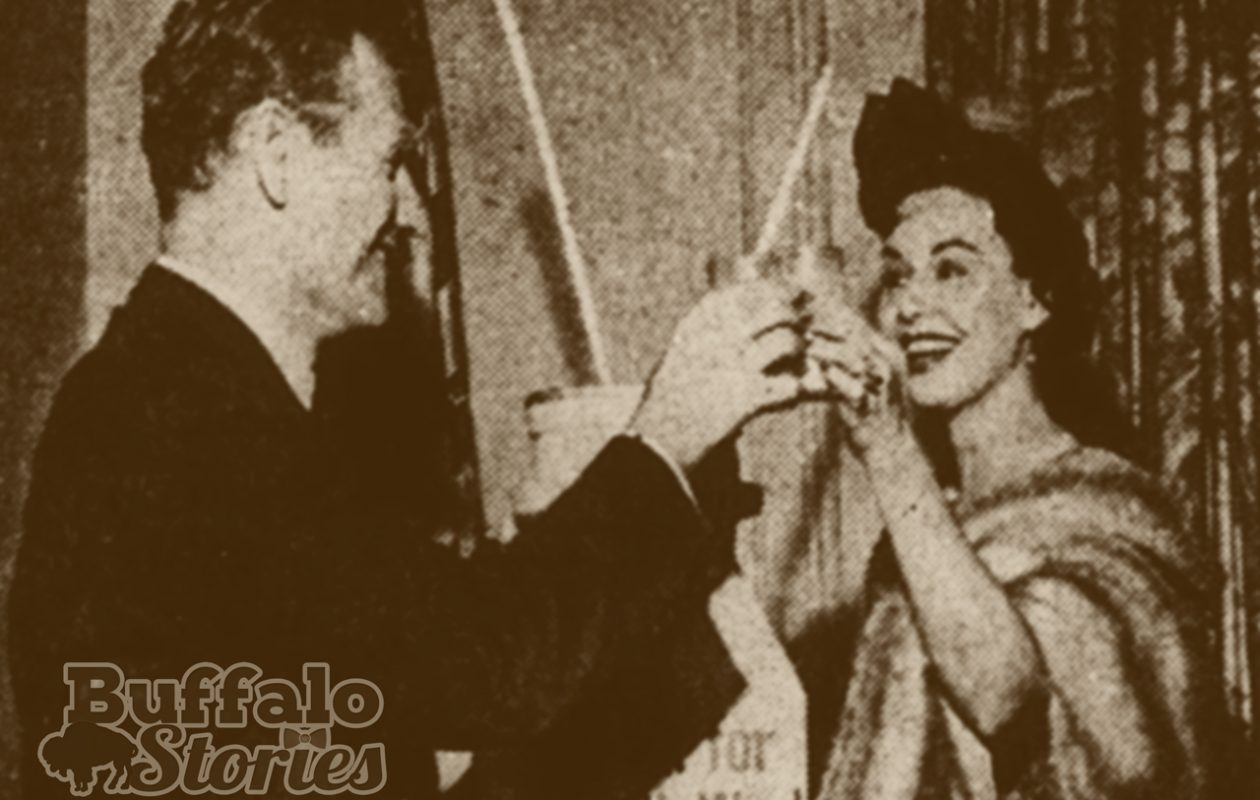 Buffalo TV personality and Niagara Frontier Milk Ambassador Paula Drew and Gov. Nelson Rockefeller make a milk toast in honor of  'Milk for Health' week in 1959.