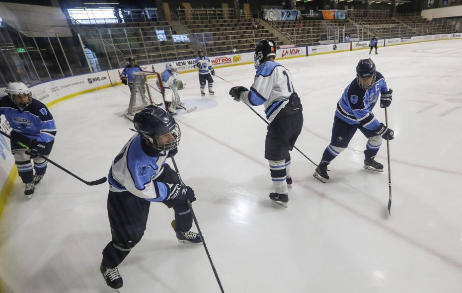 The Lizards (in blue) duke it out with the Wolfpack (in white) Friday during the 11 Day Power Play Community Shift at HarborCenter. (Derek Gee/Buffalo News)
