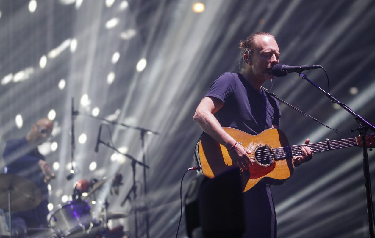 Thom Yorke of the British band Radiohead performs during a summer 2018 North American tour in support of the band's latest album A Moon Shaped Pool, at the United Center on July 6, 2018 in Chicago. (Photo by Kamil Krzaczynski / AFP)        (Photo credit should read KAMIL KRZACZYNSKI/AFP/Getty Images)