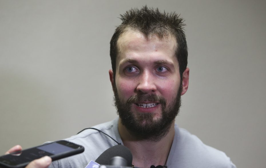 The Tampa Bay Lightning's Nikita Kucherov talks with reporters after an on-ice training session at Clearwater Ice Arena in Clearwater, Fla., on Tuesday, July 10, 2018. Kucherov signed an eight-year contract extension that will pay him an average of $9.5 million. (Dirk Shadd/Tampa Bay Times/TNS)
