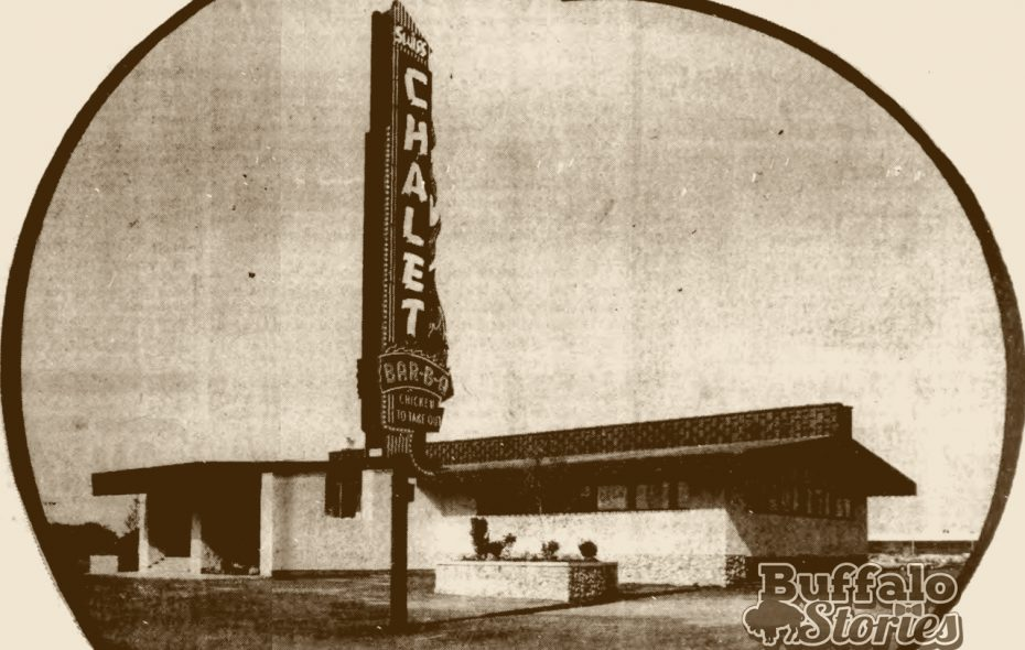 Swiss Chalet restaurant on Niagara Falls Blvd., from a 1965 ad. (Buffalo Stories archives)