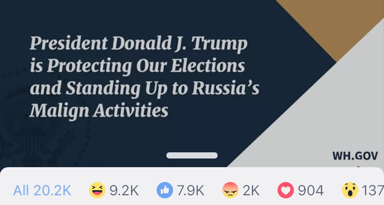 Facebook users are laughing at the White House's post claiming that President Trump is fighting Russian election interference.