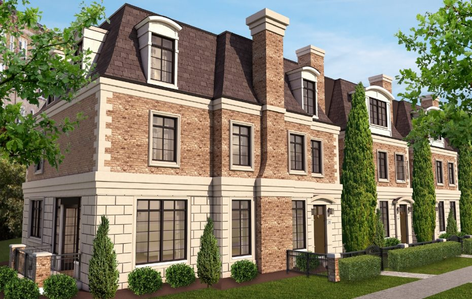 Uniland Development Co. is proposing a 12-unit townhome project for two parcels on Gates Circle. This is a rendering of one of the buildings.