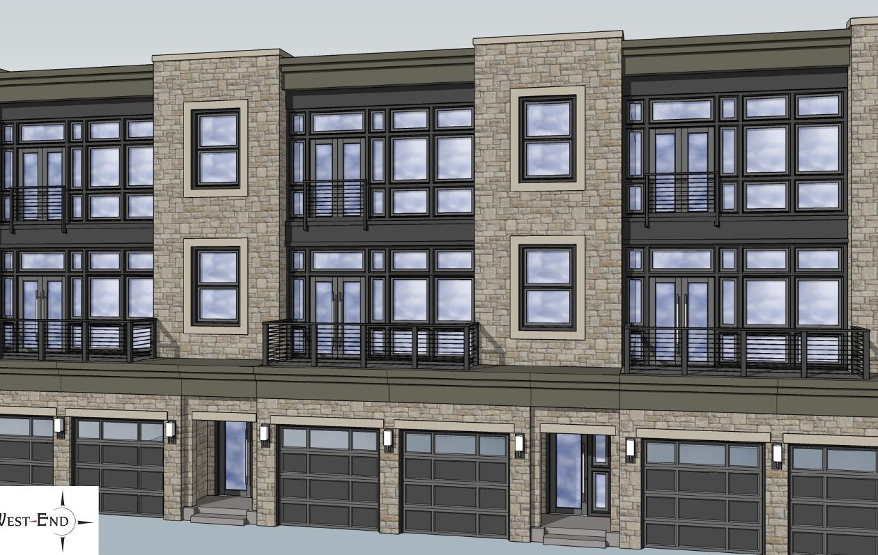 A rendering of the newly redesigned West End townhomes.