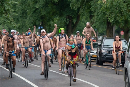 The World Naked Bike Ride rolled through Buffalo, including popular vantage points in Lafayette Square and at Bidwell Park, on Saturday, July 14, 2018. See who stopped by Bidwell Park to show their support, and see some of the riders in action.