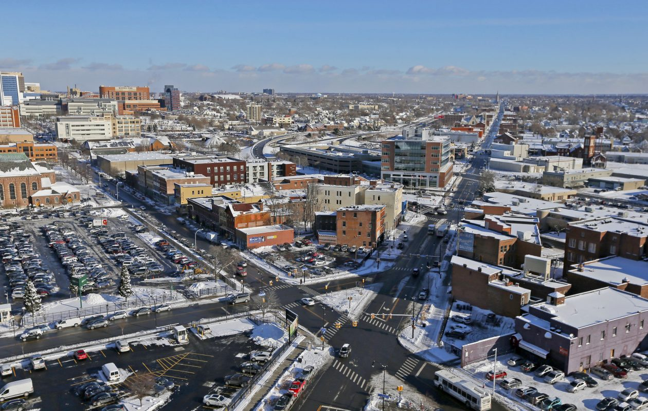 A long stretch of Genesee Street, past the Kensington Expressway, runs through a stretch of land on Buffalo's East Side and Cheektowaga that has elevated rates of six types of cancers.  (Robert Kirkham/News file photo)