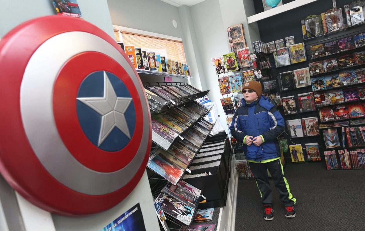 Pulp 716 comic book store donated hundreds of dollars in prizes for the cosplay contest. Pictured is Trevor LeFevre, 10, of Lockport. (Sharon Cantillon/Buffalo News)