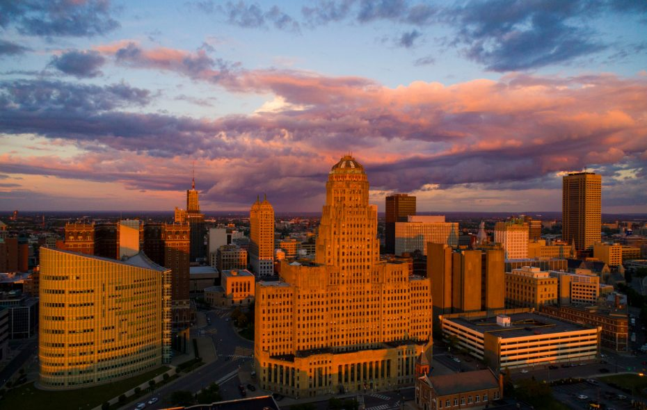 The setting sun casts a warm glow over the city skyline, Tuesday, June 27, 2017. (Derek Gee/Buffalo News)