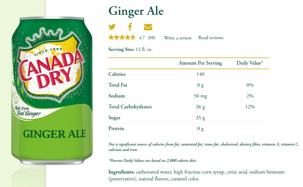 Product information about ginger ale from the Canada Dry website.