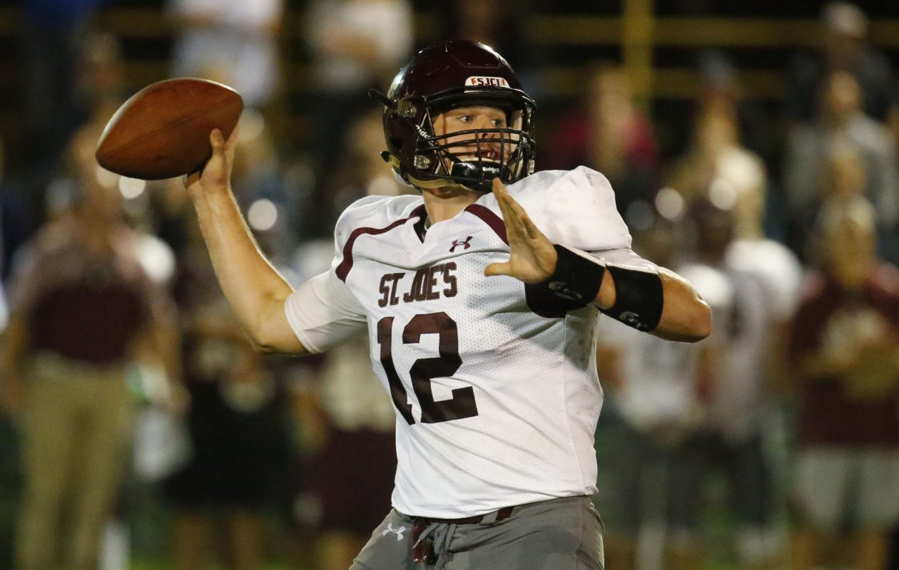 St. Joe's quarterback Casey Kelly throws against Timon during second quarter action at Tifft Field Oct. 7, 2016.(Harry Scull Jr./Buffalo News)