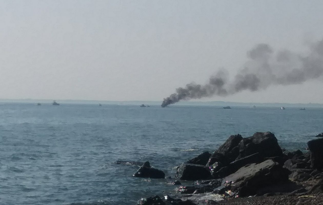 A reader submitted this photo of a boat on fire in Hamburg on Sunday afternoon.