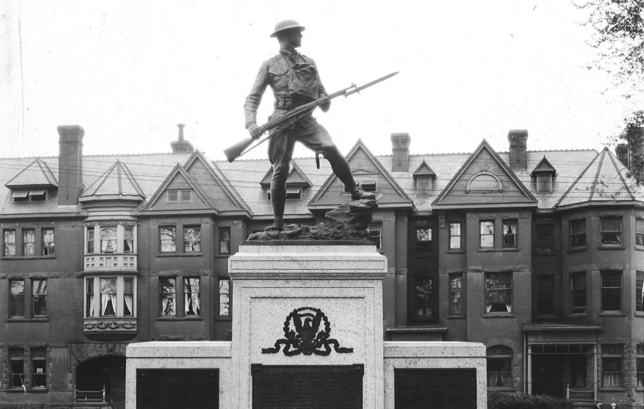 The Rock of the Marne monument, Syracuse, shortly after its 1920 dedication, erected in honor of the pivotal battle of World War I, by the men who survived it. (Courtesy Onondaga Historical Association)