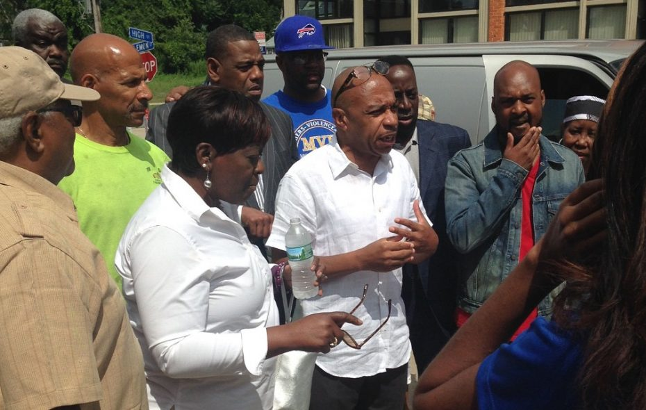 """Common Council President Darius Pridgen said he helped organize Saturday's gathering in order for the Fruit Belt community to stand united in the face of violence. """"If babies are killed and we don't have a heart, we've lost the community,"""" he told the packed house. (Phil Fairbanks/Buffalo News)"""
