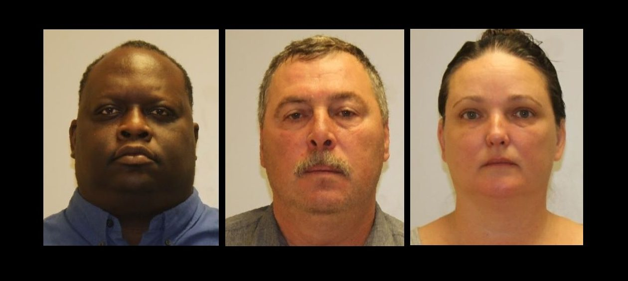 From left, William C. McClendon, 41, of Niagara Falls; Christopher M. Nichter, 57, of Lancaster; and Angela A. Quinn, 44, of Lancaster, were charged in a scheme involving a state-funded construction project. (Erie County District Attorney's Office)