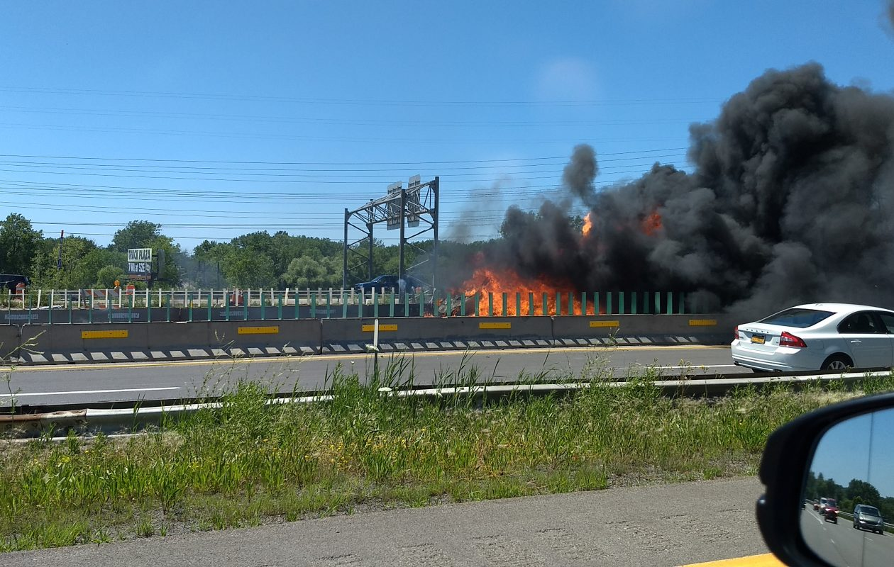 The westbound lanes of Interstate-90 were closed Monday afternoon due to a vehicle fire. (Sandra Tan/Buffalo News)