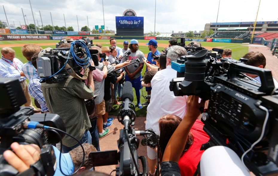 Vladimir Guerrero Jr. met with the media Tuesday before his Triple-A debut in Buffalo. (Mark Mullville/Buffalo News)