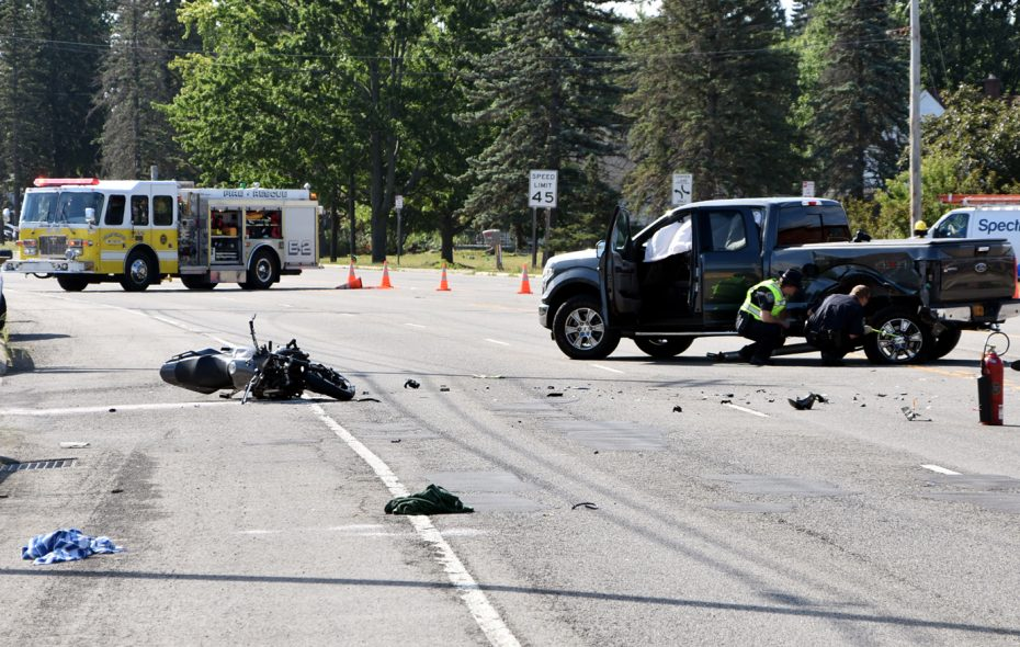 A motorcyclist suffered multiple injuries when he collided with a pickup truck on Niagara Falls Boulevard in the Town of Wheatfield Wednesday morning. (Larry Kensinger/Special to The News)