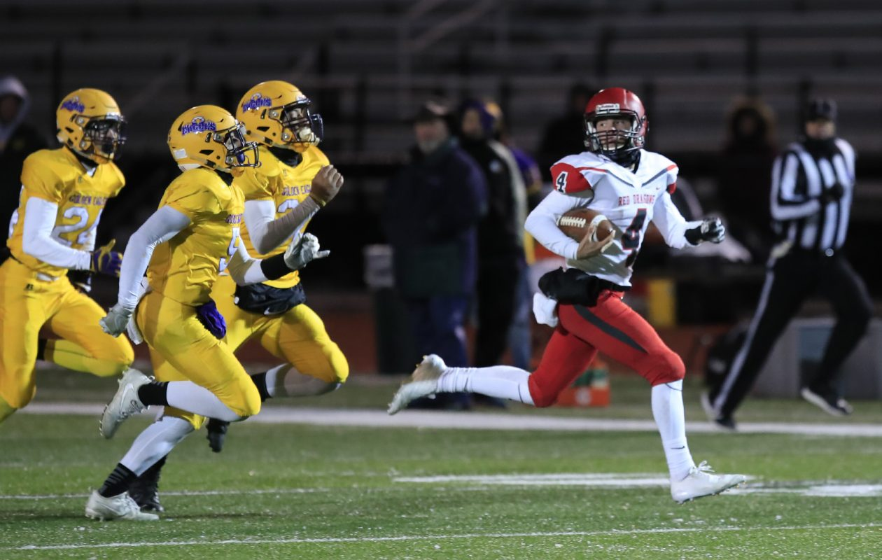 Easton Tanner moves from quarterback to running back for defending Section VI champion Maple Grove. (Harry Scull / Buffalo News)