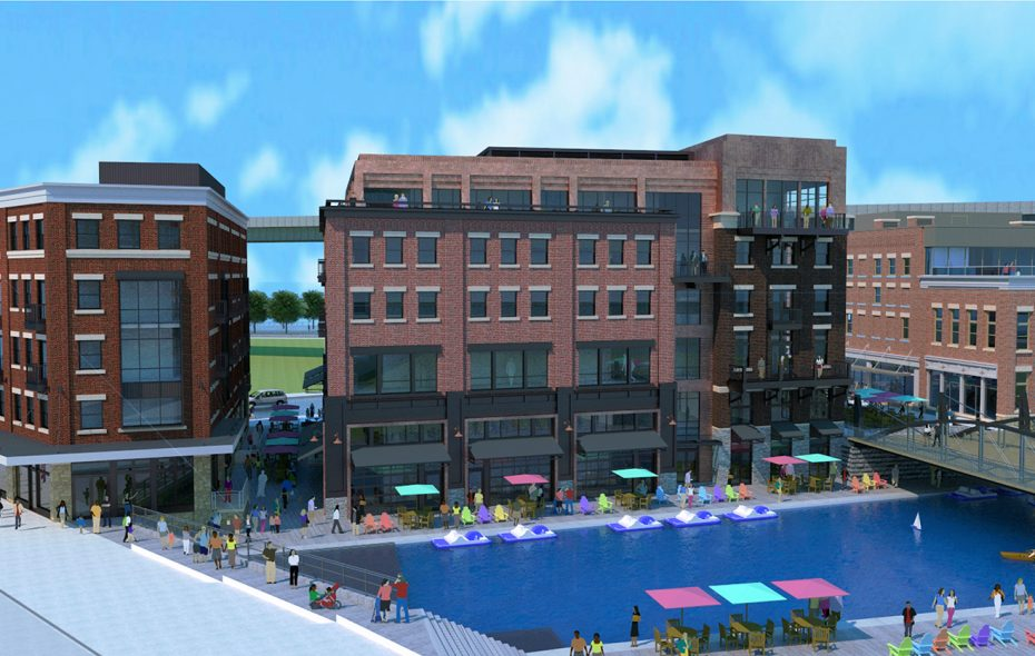 Big changes are in store for Canalside. Two buildings approved Monday will overlook the canal, and offer residences, restaurants and office space. (Sinatra & Co. rendering)