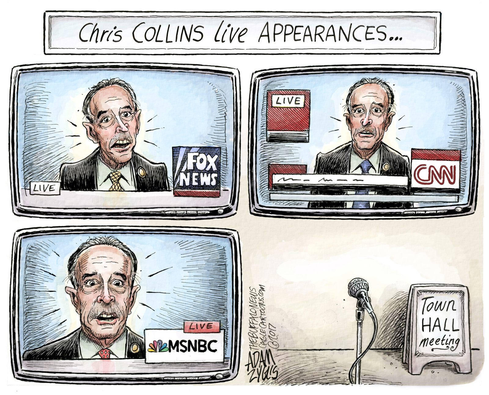 Chris Collins, the former Erie County executive and current congressman recently indicted for insider trading, has been a frequent subject of Adam Zyglis' editorial cartoons. Here's a look back through some of his appearances.