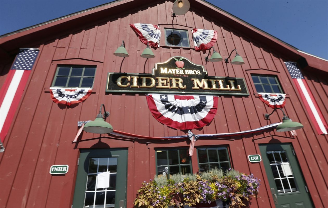 The main building of Mayer Brothers Cider Mill & Bakery, which housed the original 1852 cider press that let generations of families have jugs filled with fresh apple cider. It has been converted to the Mayer Brothers Cider Mill and Bakery store that still delights customers today. (Robert Kirkham/Buffalo News)