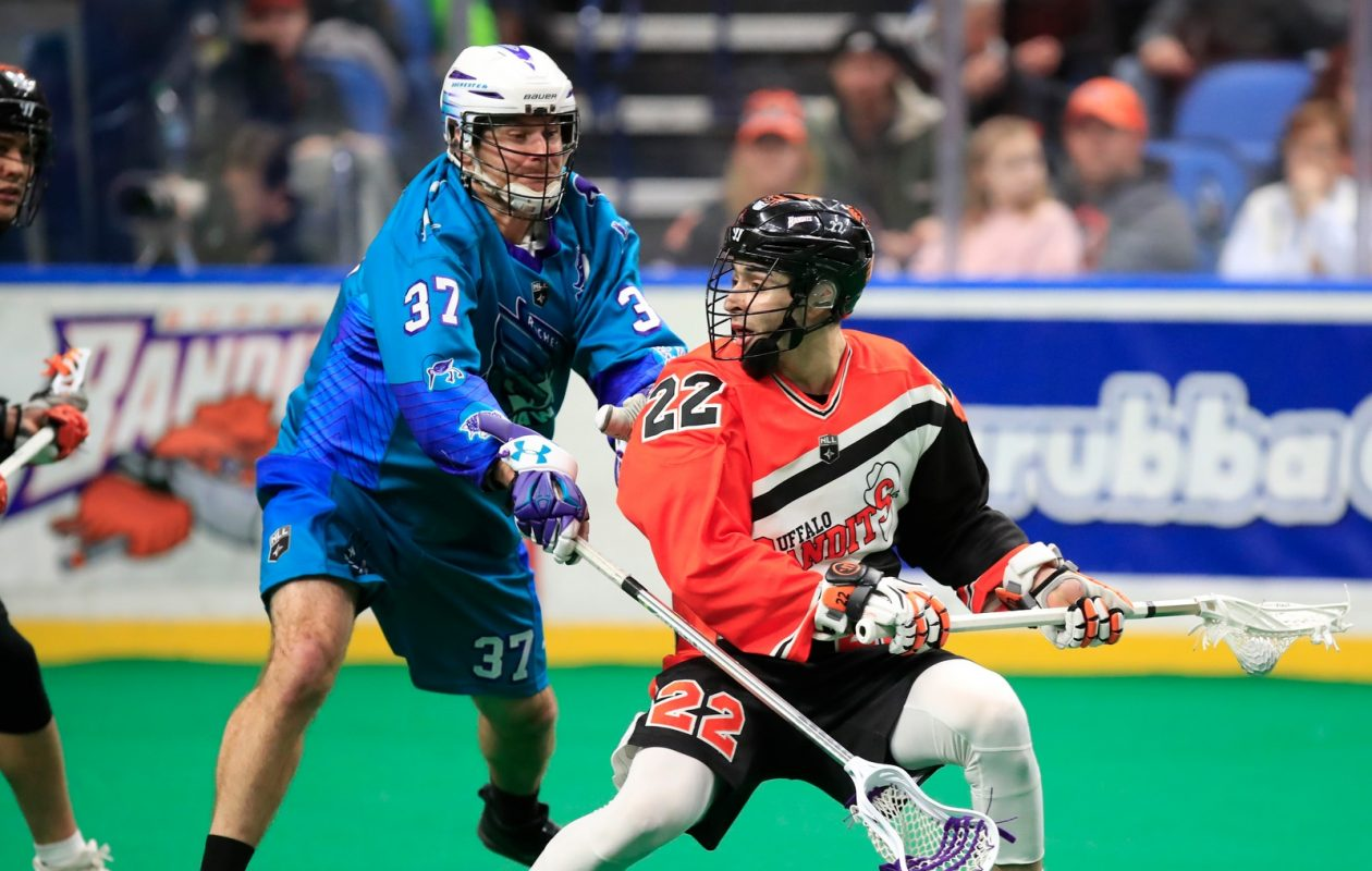 Buffalo Bandits' Josh Byrne looks to pass against the Rochester Knighthawks during first half action at the KeyBank Center on Feb. 24, 2018. (Harry Scull Jr./Buffalo News)