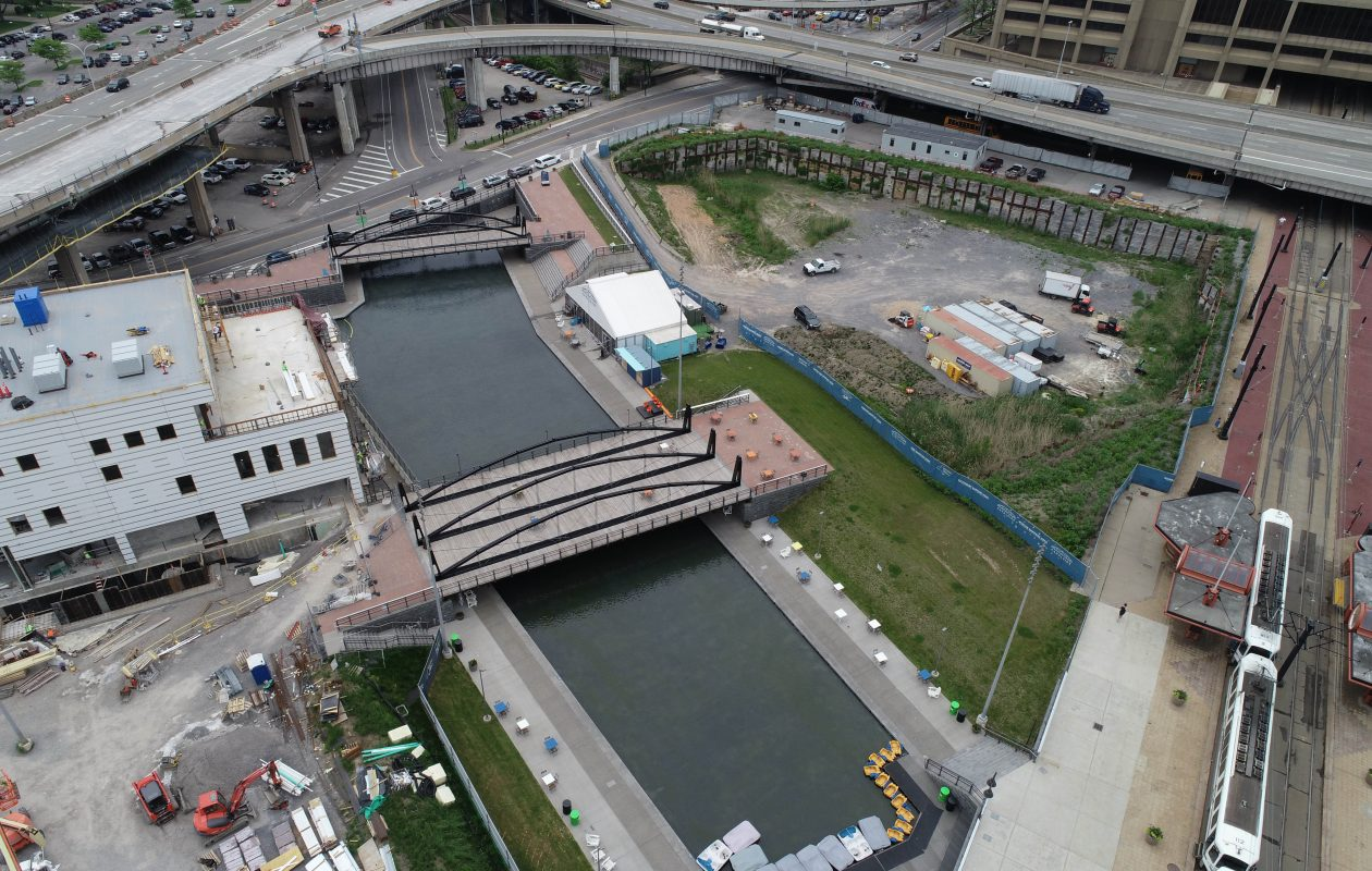 The state plans to spend $24 million to spur development of a large portion of the northern end of Canalside, right. (Derek Gee/Buffalo News)