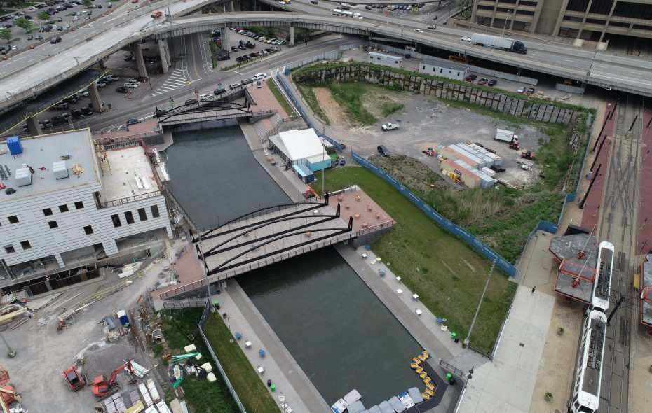 A large portion of the northern end of Canalside, right, will be developed. (Derek Gee/Buffalo News)