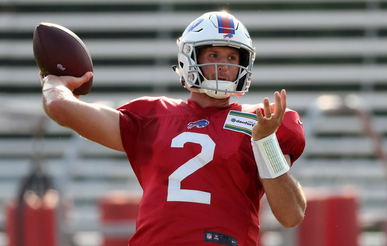 Bills quarterback Nathan Peterman had a solid practice Monday morning at St. John Fisher College.  (James P. McCoy/Buffalo News)