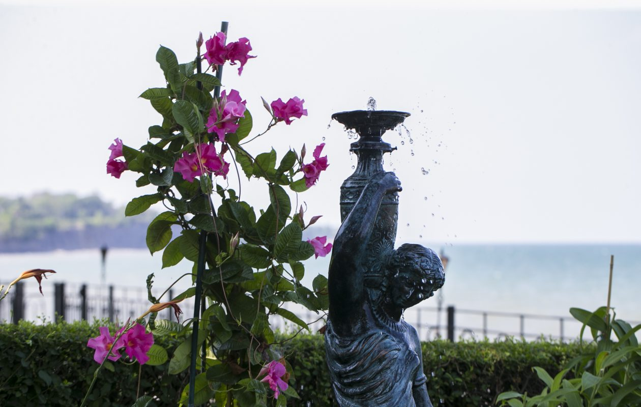 Nick and Beth Buscaglia have created stunning gardens and living areas outside their home on the Lake Erie shore.  (Shuran Huang/Buffalo News)