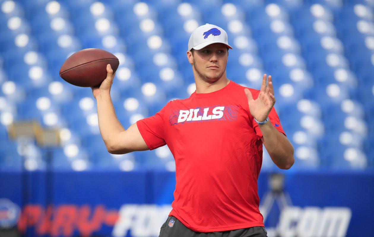 Bills quarterback Josh Allen continues to make progress in his recovery from a sprained elbow. (Harry Scull Jr./Buffalo News)