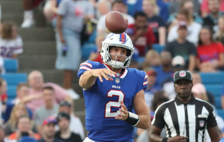 Nathan Peterman threw seven INTs this season. (James P. McCoy/News file photo)