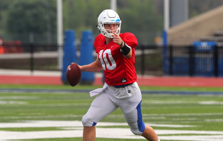 UB quarterback Matt Myers scrambles and  directs his players at first scrimmage of preseason camp at UB Alumni Stadium, in Amherst on Thursday, Aug. 9, 2018. (John Hickey/Buffalo News)
