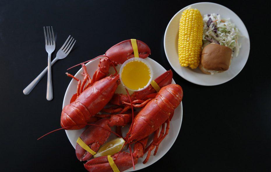 Double Lobster dinner at 2 Forks Up restaurant in Getzville on Thursday, Aug. 9, 2018.  (Robert Kirkham/Buffalo News)