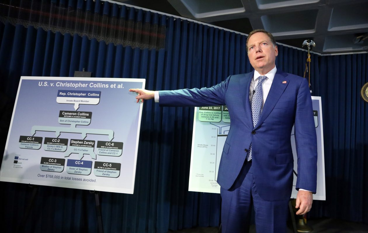 Geoffrey Berman, the U. S. Attorney for the Southern District of New York, with a chart showing those involved in the alleged scheme at a news conference Wednesday. (Jefferson Siegel/Special to the News)