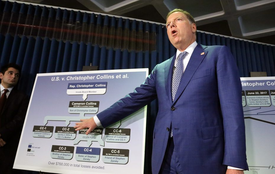 Geoffrey Berman, U.S. Attorney for the Southern District of New York, points to a chart showing those involved in the alleged scheme involving Rep. Chris Collins. (Jefferson Siegel/Special to The News)