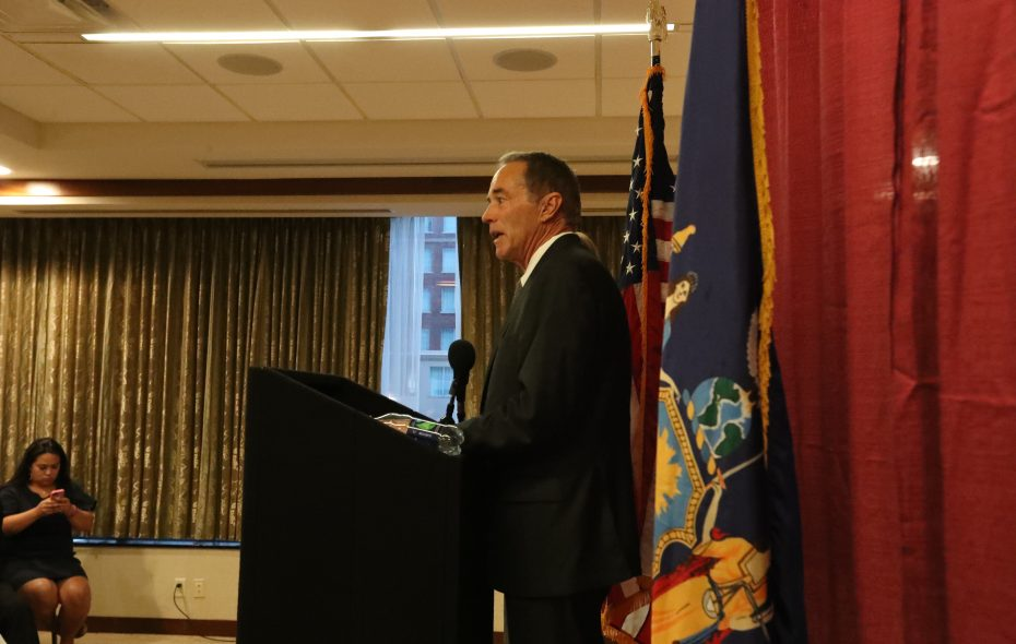 Rep. Chris Collins held a news conference at Embassy Suites in Buffalo on Wednesday, Aug. 8, 2018.  (James P. McCoy/Buffalo News)
