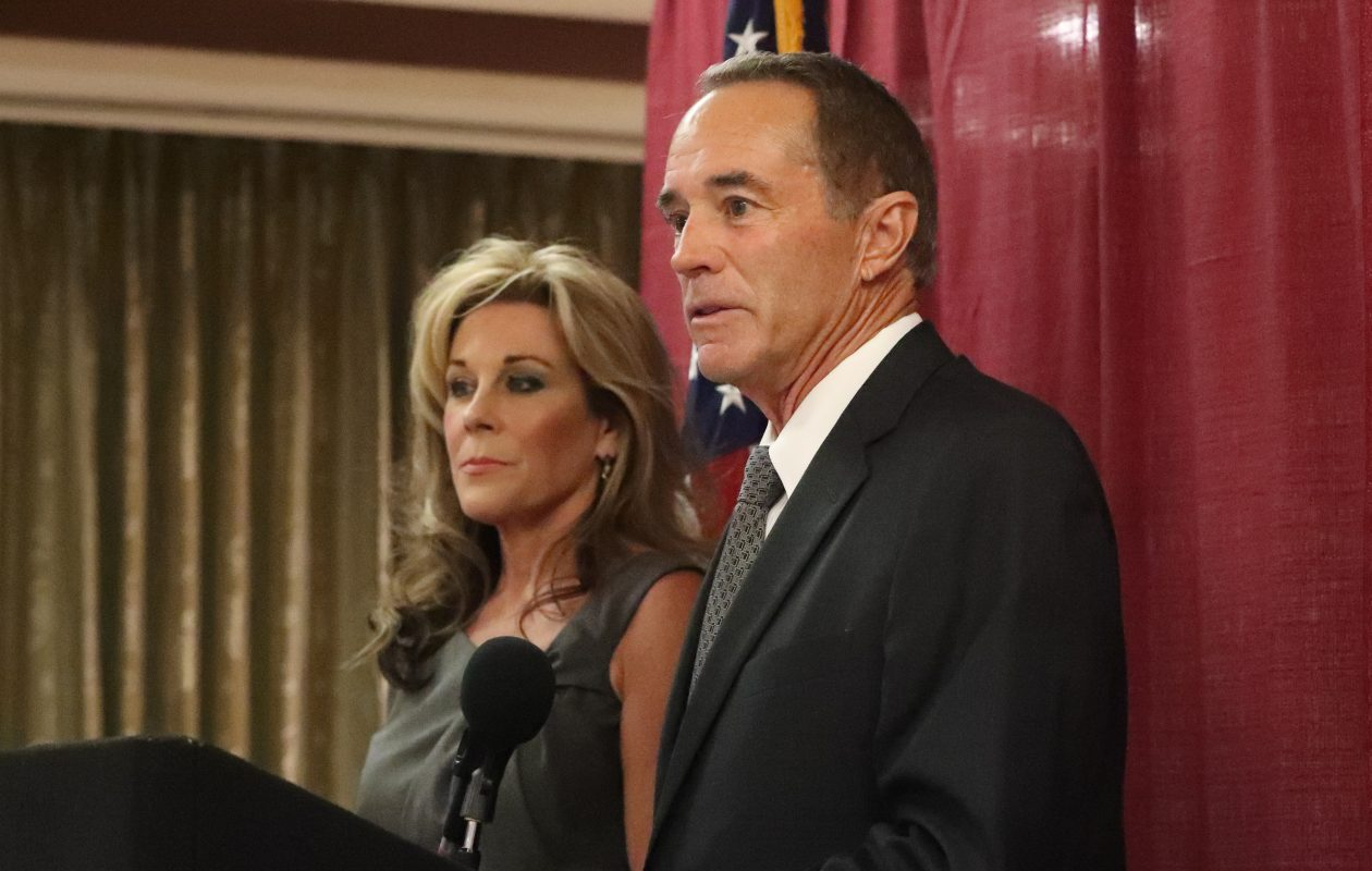 Rep. Chris Collins held a press conference with his wife, Mary, to address charges of insider trading in Buffalo on Wednesday, Aug. 8, 2018. (James P. McCoy/Buffalo News)