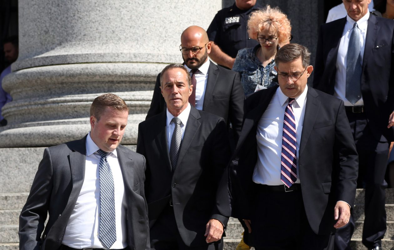 U.S. Rep. Chris Collins leaves federal court in Manhattan after his arraignment on Wednesday. (Jefferson Siegel/Special to The News)