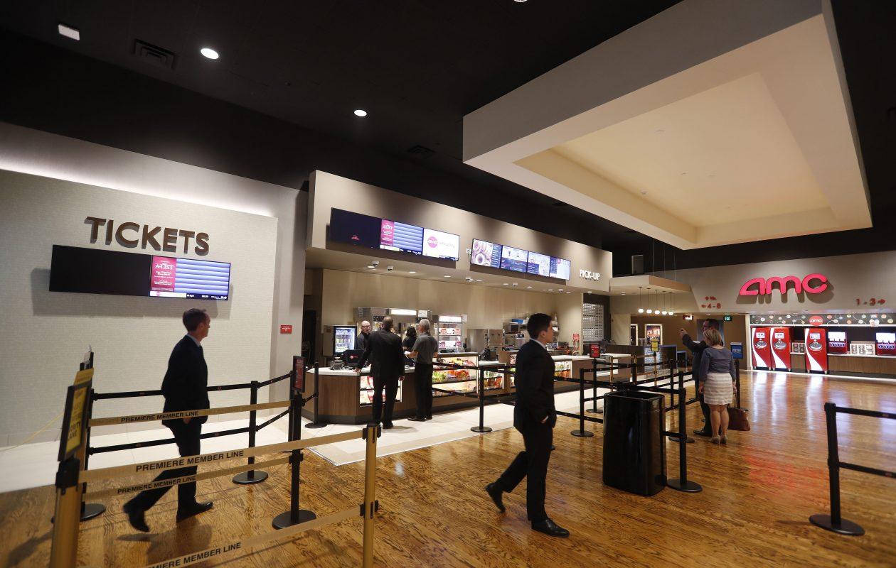 The lobby of the new AMC Market Arcade 8 Movie Theatre on Main Street. (Mark Mulville/Buffalo News)
