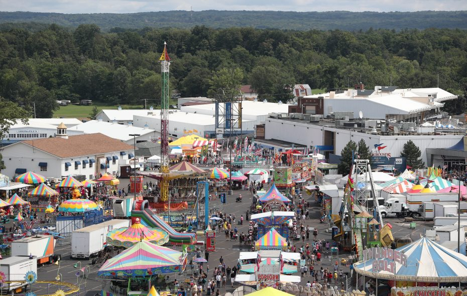 The Erie County Fair begins its final weekend of the season. A view of the midway from the Ferris wheel on Saturday. (Sharon Cantillon/Buffalo News)