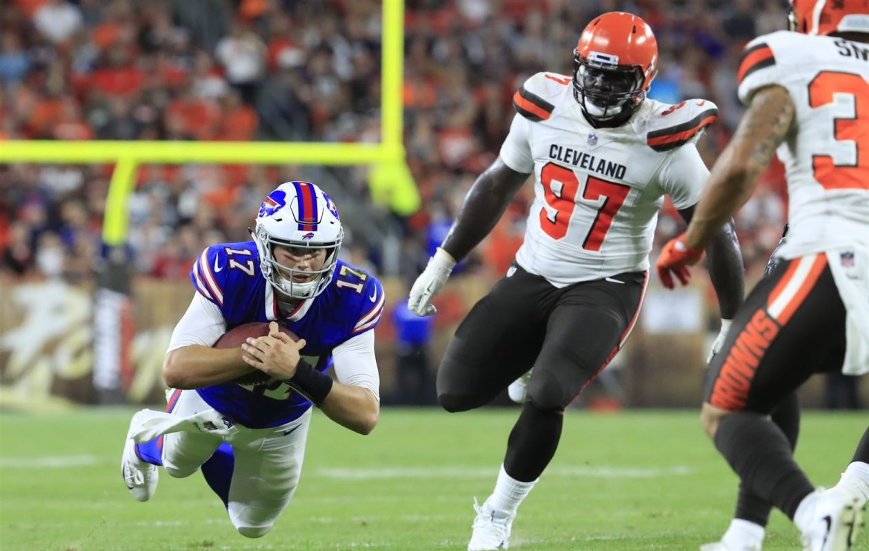 Quarterback Josh Allen dives for yardage against the Cleveland Browns during second-quarter action. ((Harry Scull Jr./Buffalo News)