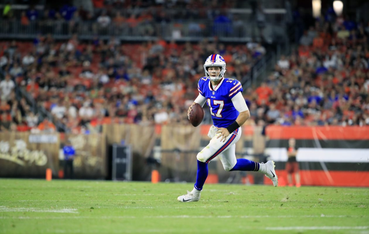 Buffalo Bills quarterback Josh Allen rolls out against the Cleveland Browns during second quarter action at FirstEnergy Stadium Friday. Allen will be the starting quarterback as the Bills host the Bengals Sunday. (Harry Scull Jr./ Buffalo News)