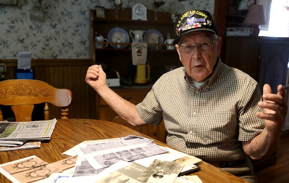 "Casimer L. ""Casey"" Bukowski, a B-17 gunner in WWII, was shot down and taken POW for 14 months. He lost his right eye when the Flying Fortress was shot down on his 15th mission. (John Hickey/Buffalo News)"