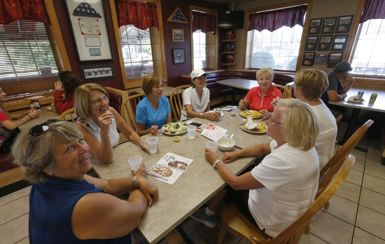 A group of local golfers met for lunch after a round at the Clarence Pizza Company. (Robert Kirkham/Buffalo News)
