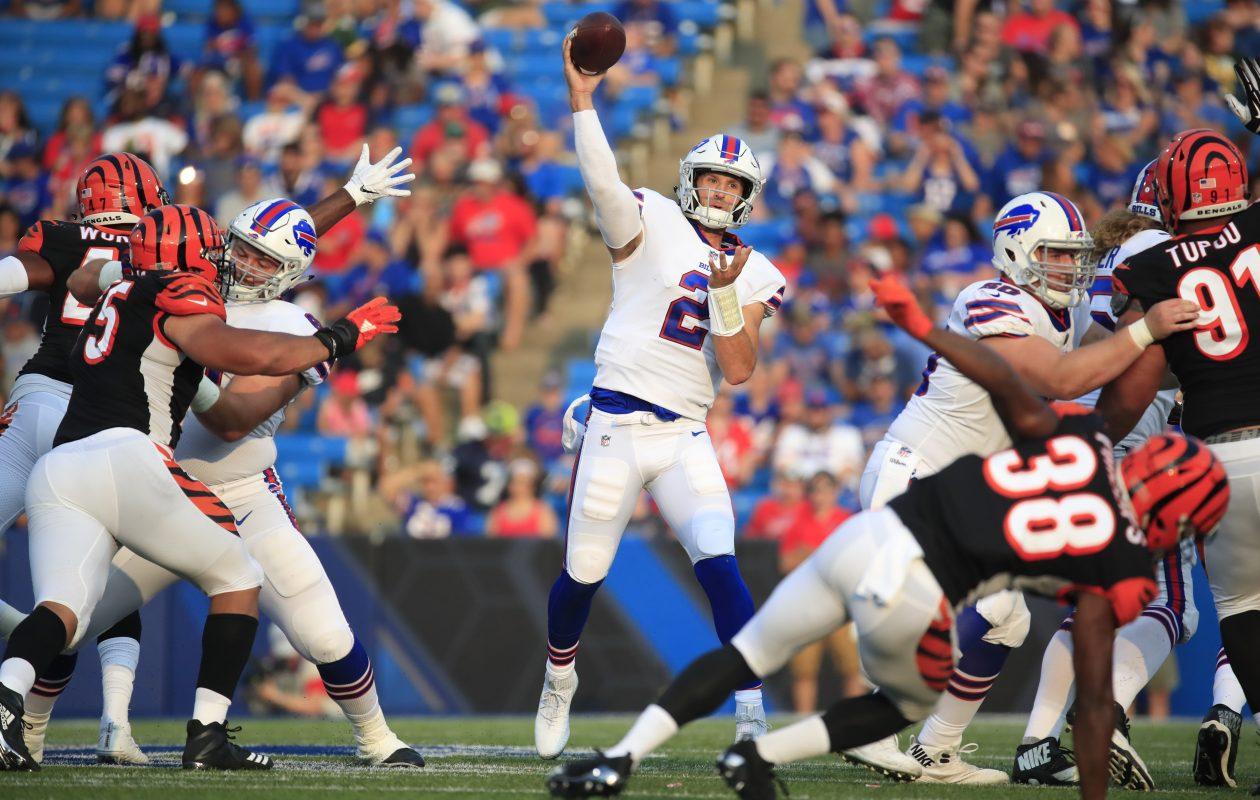 Bills quarterback Nathan Peterman throws against the Cincinnati Bengals. (Harry Scull Jr./Buffalo News)