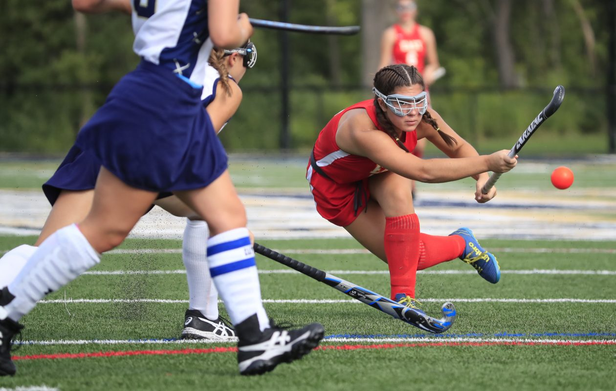 Williamsville East player Jenna Cavaleri shoots against Sweet Home at Sweet Home high school on Thursday, Aug. 30, 2018. (Harry Scull Jr./ Buffalo News)