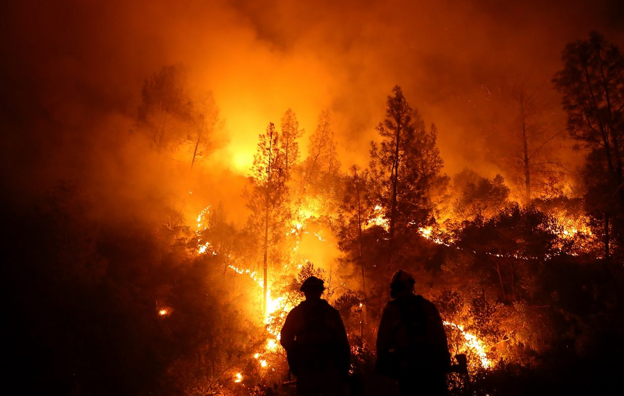 Firefighters monitor a back fire as they battle the Medocino Complex fire on August 7, 2018 near Lodoga, California.   (Getty Images)