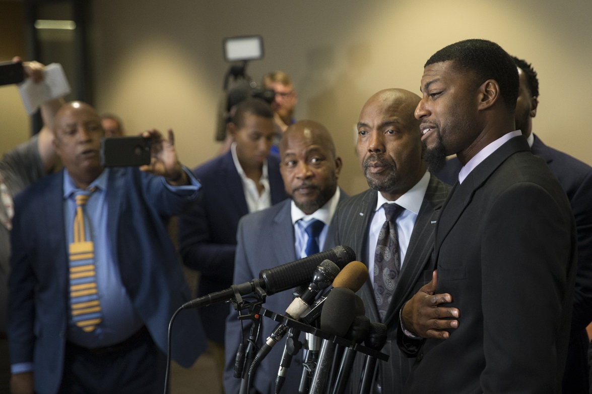 Alongside attorneys, Odell Edwards, father of Jordan Edwards, speaks to members of the media after a Dallas County jury found Roy Oliver, the former Balch Springs police officer who killed 15-year-old Jordan Edwards, guilty of murder on August 28, 2018 in Dallas, Texas. (Photo by Ryan Michalesko - Pool/Getty Images)